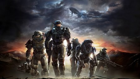 halo, soldiers, sky
