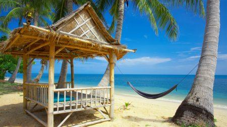 hammock, bungalow, coast