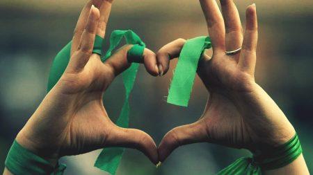 hands, heart, ribbon