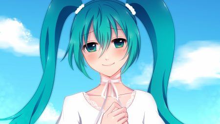 hatsune miku, girl, two tails