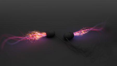 headphones, light, neon