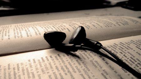 headphones, wire, book