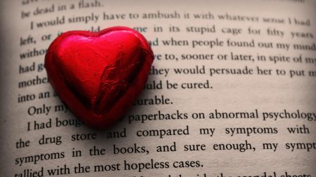 heart, book, leaves