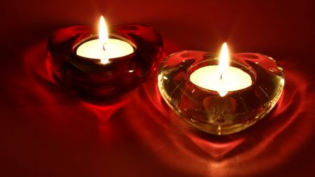heart, candle, red