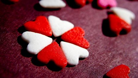 heart, candy, table