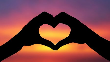 heart, love, sky