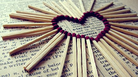 heart, matches, paper