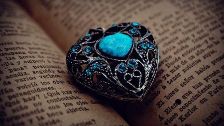 heart, pendant, book