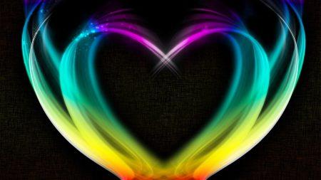 heart, rainbow, smoke