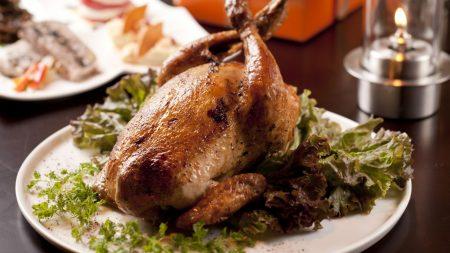 hen, grill, salad