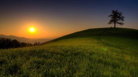 hill, light, sun