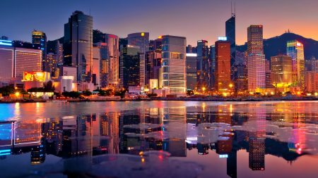 hong kong, buildings, bay