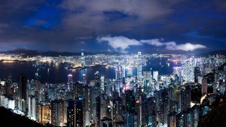 hong kong, china, night