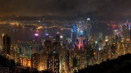 hong kong, city, night
