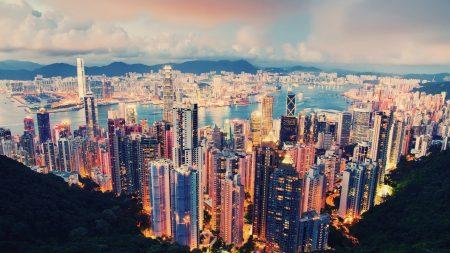 hong kong, skyscrapers, night