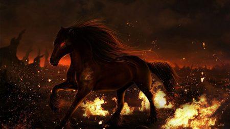 horse, fire, field