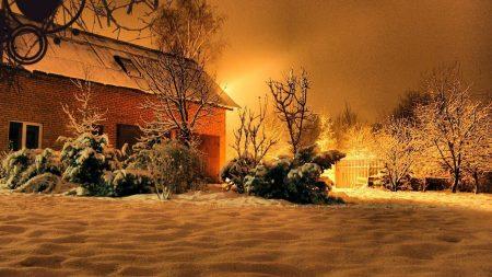 house, court yard, night