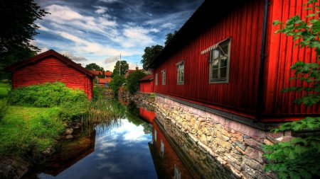house, red, river