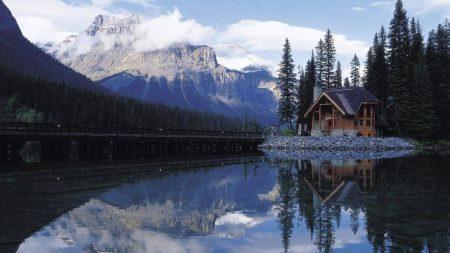 house, road, lake