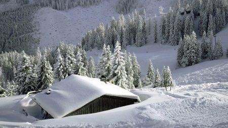 house, snow, snowdrifts
