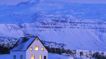 house, white, snow