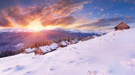 houses, snow, slope