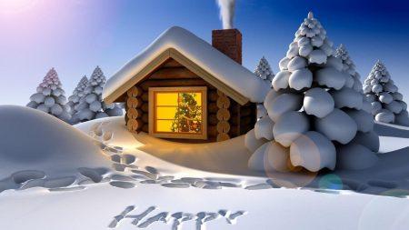 hut, tree, snow