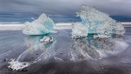 ice, beach, sand