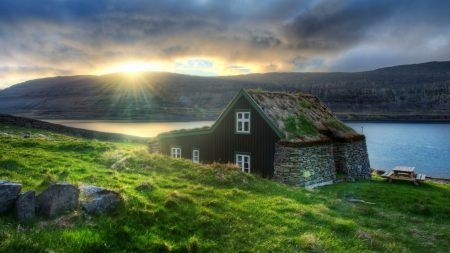 iceland, house, stones