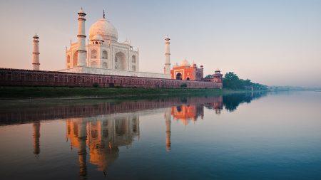 india, taj mahal, river