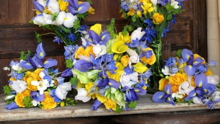 irises, roses, freesia