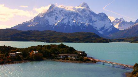 island, bridge, mountains