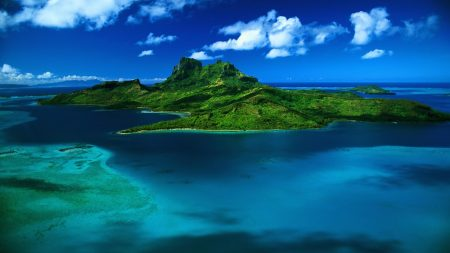 island, greens, ocean