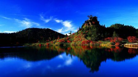 island, japan, lake