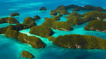 islands, rocks, greens