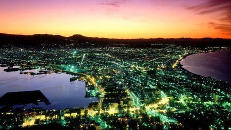 japan, night, top view