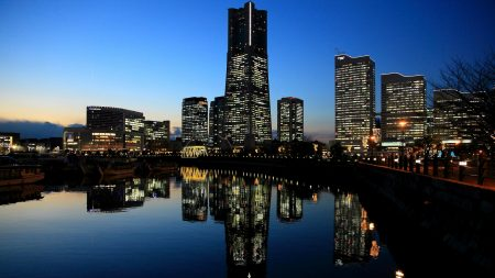 japan, yokohama, evening