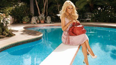 jessica simpson, blonde, pool