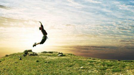 jump, people, field