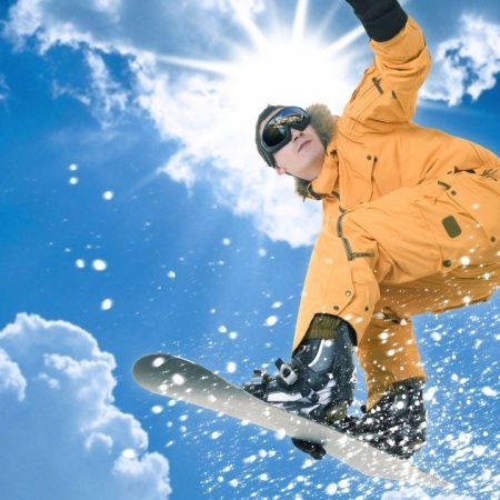 jump, snowboard, sun