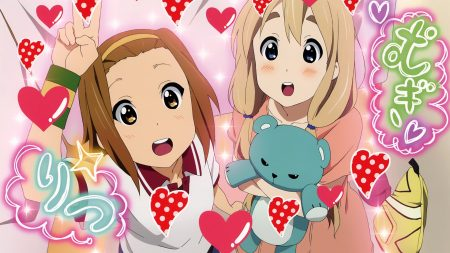 k-on, girls, gesture