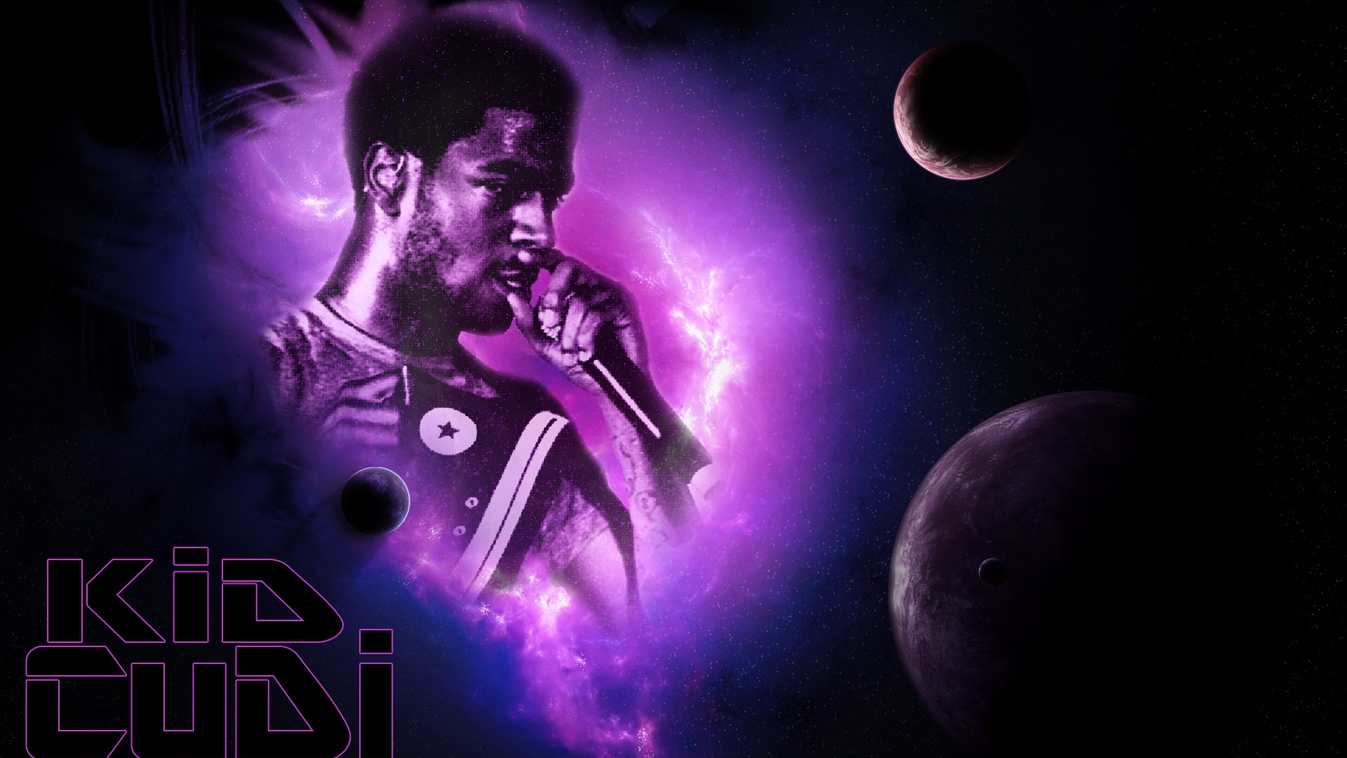 Download Wallpaper 1920x1080 Kid Cudi Man Of The Moon Microphone Album Cover Full Hd 1080p Hd Background