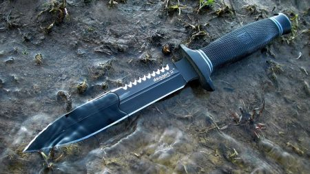 knife, leather, metal
