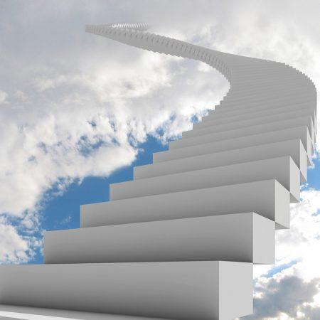 ladder, clouds, way