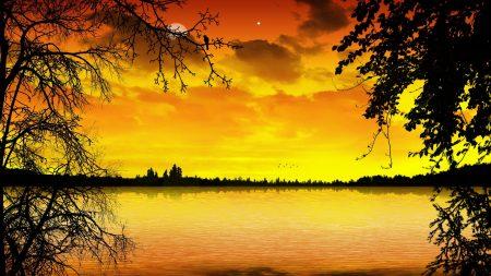 lake, decline, orange