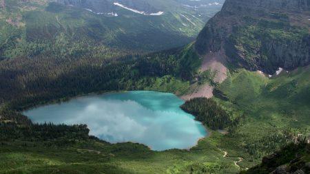 lake, descent, mountains
