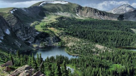 lake, grass, mountains