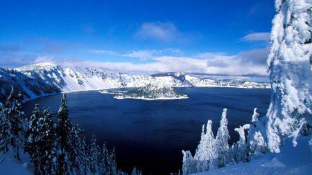 lake, island, winter