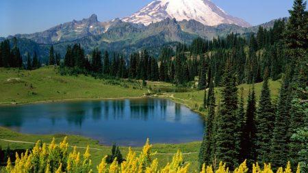 lake, mountains, alpes