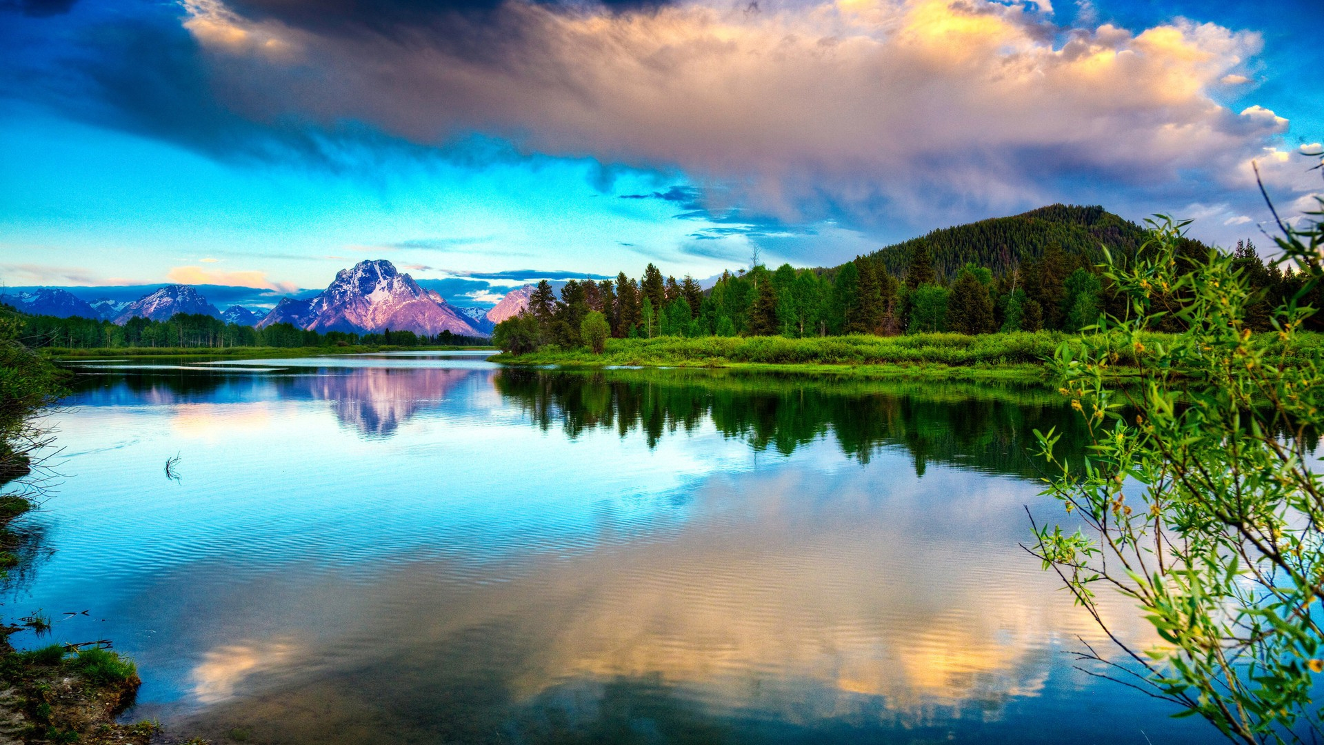 Earnings Disclaimer >> Download Wallpaper 1920x1080 lake, mountains, clouds ...
